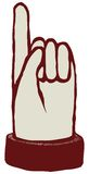 Pointing finger. Pointing up finger  icon woodcut hand drawn Stock Photo