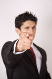 Pointing Finger. Young male business person Pointing Finger directly at the camera royalty free stock photography