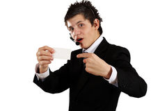Pointing finger ahead Stock Image