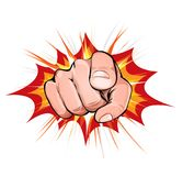 Pointing Finger On Explosion Background. Illustration of a comic man hand icon with index finger poiting, on blasting background for hiring or warning message Royalty Free Stock Photography
