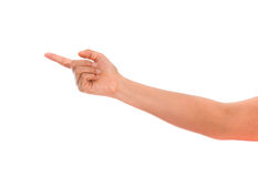 Pointing the finger, female hand, isolated Royalty Free Stock Photos