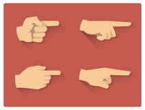 Pointing finger flat icons. Pointing finger flat vector icons Royalty Free Stock Photography