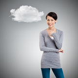 Pointing finger gesture. Isolated on grey background with cloud Royalty Free Stock Photography