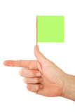 Pointing Finger Green Flag. Hand with pointing finger and green flag stock photography