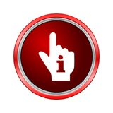 Pointing finger hand with an info sign, Internet button on white background. Vector icon Stock Images