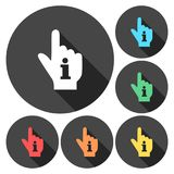 Pointing finger hand with an info sign set with long shadow. Vector icon Stock Image