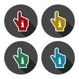 Pointing finger hand with an info sign set with long shadow. Vector icon Royalty Free Stock Photos