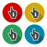 Pointing finger hand with an info sign set with long shadow. Vector icon Royalty Free Stock Image