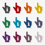 Pointing finger hand with an info sign set. Vector icon Stock Photography