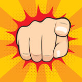 Pointing Finger Hiring You. Close up illustration of pointing finger hand with hiring you concept Stock Photography