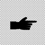 Black icon silhouette of pointing aside finger isolated on transparent background. Pointing finger illustration of businessman black hand with index finger Royalty Free Stock Images