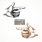 Pointing finger. Illustration of a hand indicating or showing direction by pointing a finger Stock Photo