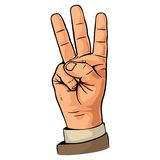 Pointing finger. Number one hand sign. Pointing finger. Number three hand sign. Vector color vintage flat illustration isolated on a white background. Hand sign Stock Image