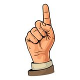 Pointing finger. Number one hand sign. vector illustration