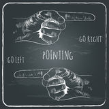 Pointing finger in old vintage style on chalkboard. Grunge dark background with text. vector illustration Stock Photo