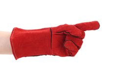 Pointing finger in red glove. Stock Images