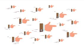 Pointing Finger Sign Vector. Flying Businessman Hands. Social Media Look Symbols Networking Concept. Showing Direction. Or Way. Illustration Stock Photography