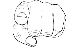 Pointing finger signal, hand signal  vector. Pointing finger to people, hand signal  vector Stock Photography