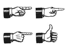 Pointing Finger And Thumbs Up Sign. Illustration of a sketched set of businessman black hands with index finger pointing, and giving a thumbs up,  on white Stock Image