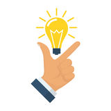 Pointing finger up on Idea. Pointing finger up on bulb as a symbol big idea. Having new creative idea. Problem solution metaphor. Vector illustration flat design Stock Image