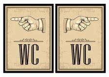 Pointing finger. Vector vintage illustration on beige background. Hand sign for web, poster Royalty Free Stock Images
