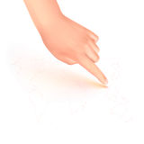 Pointing finger on the world map. Illustration of pointing finger on the world map with isolate background Stock Photo