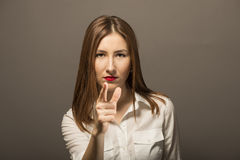 Pointing finger at you Stock Photo