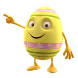 Pointing floral easter egg on white background. Happy Easter, 3D easter character, cheerful cartoon, amusing egg isolated on white background Stock Photos