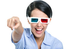 Pointing with forefinger girl in 3D glasses Royalty Free Stock Images