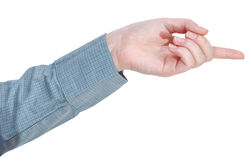 Pointing by forefinger - hand gesture Royalty Free Stock Photos