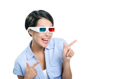 Pointing with forefingers girl in 3D spectacles Stock Photos