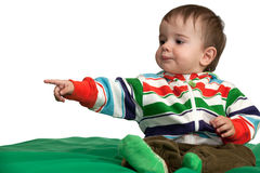 Pointing forward baby boy Royalty Free Stock Photography