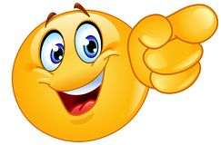Pointing forward emoticon. Happy emoticon pointing forward with his finger vector illustration