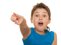 Pointing forward shouting boy Stock Photos