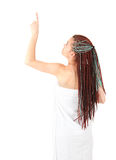Pointing girl in african hairdo after shower Stock Image