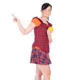 Pointing girl keeping apple Stock Images
