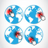 Pointing global disasters set Royalty Free Stock Photography