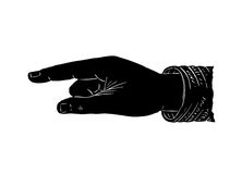 Pointing hand black Royalty Free Stock Images