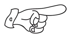 Pointing hand. Hand in comic style showing direction Stock Image