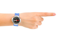 Pointing hand and compass Stock Photo