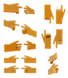 Pointing hand 3d icon set Stock Images