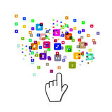 Pointing hand with icon Royalty Free Stock Photo