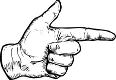 Pointing Hand illustration. An original pen and ink illustration of a pointing hand Stock Photos