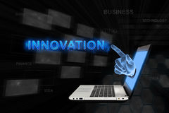 Pointing hand Innovation with digital background Royalty Free Stock Photography