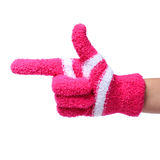 Pointing hand in knitted glove showing direction isolated Royalty Free Stock Image