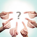 Pointing Hand and Question Mark Stock Image