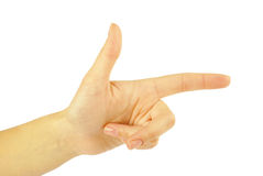 Pointing hand (or shooting) Stock Photo