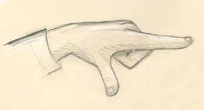 Pointing hand - sketch. A sketch of a pointing hand, drawn with pencils stock illustration