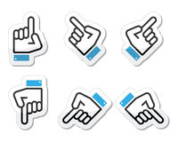 Pointing hand - up, down, across icon  Royalty Free Stock Photo