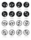 Pointing hand - up, down, across round icon vector royalty free illustration